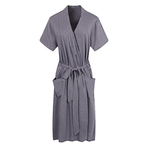 Richie House Womens Short Sleeve Cotton Bathrobe Robe RHW2753-C-L-FBA, Grey 3, Large (Short Sleeve Robe Cotton)