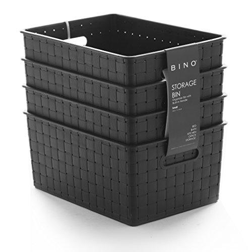 BINO Woven Plastic Storage Basket (4PK- S, Black)