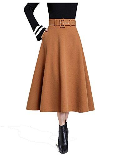 ... Cheerlife Damen Herbst Winter Einfarbiger Rock Wollrock Lang Vintage  Elegant hohe Taille Faltenröcke A-Linie 36f350e470
