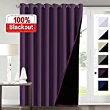 Flamingo P Extra Wide Blakcout Curtains for Patio Doors, 100% Blackout and Energy Saving Double Layer Lined Curtain Drapes for Bedroom/Living Room/Sliding Door/Patio Door, Indigo Plum 100