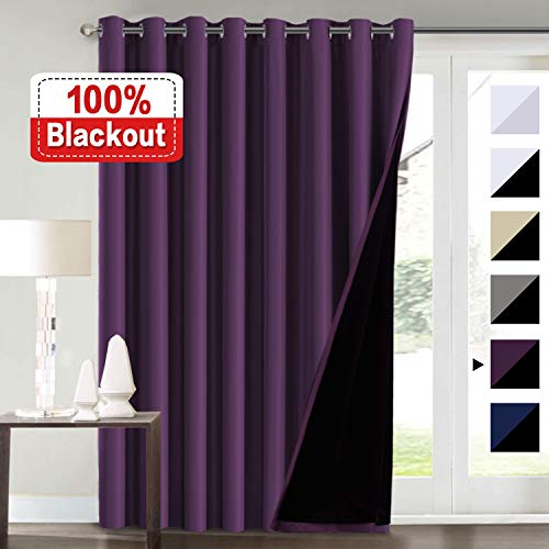 (Flamingo P Extra Wide Blakcout Curtains for Patio Doors, 100% Blackout and Energy Saving Double Layer Lined Curtain Drapes for Bedroom/Living Room/Sliding Door/Patio Door, Indigo Plum 100