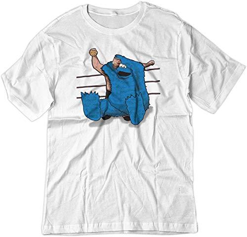 BSW Men's Cookie Monster Steve Austin Wrestling Stunner Shirt LRG White