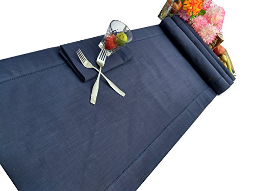 Linen Clubs Slub Cotton Hemstitched Table Runner - Navy-16x108 ()
