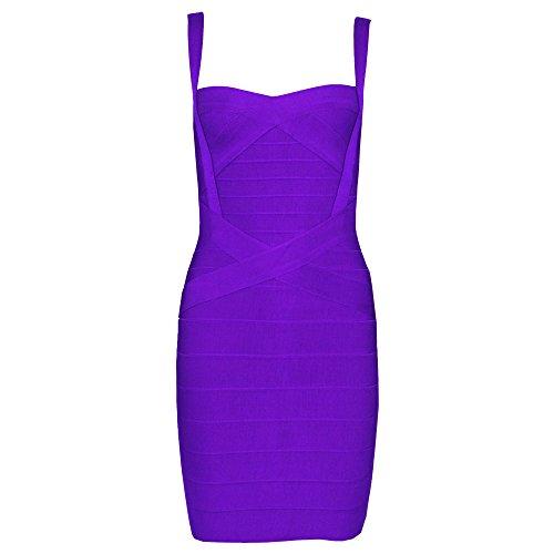 HLBandage Women's Spaghetti Strap Solid Mini Rayon Bandage Dress (M, Purple)