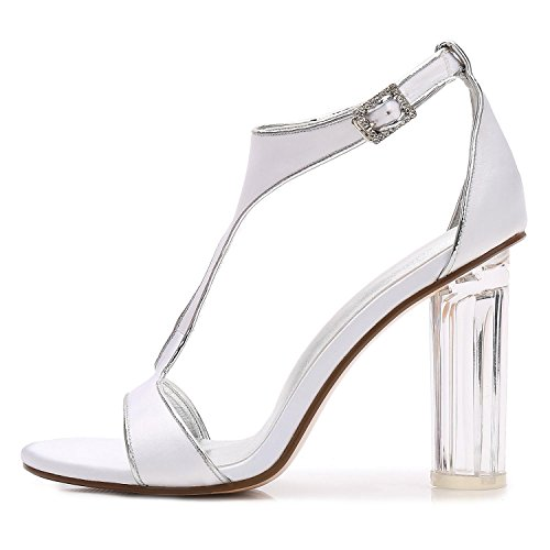 L@YC F2615-10 Women's Wedding Crystal With Jane Low High Heels Prom Closed Satin Ribbons Toe Peep Party Court Shoes Black 2J1CG9kXt