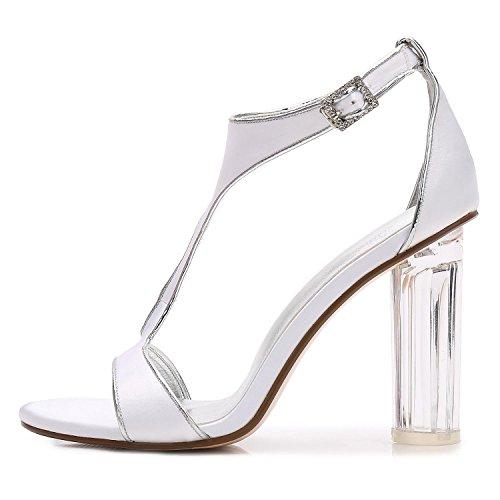 L@YC F2615-10 Frauen Hochzeit Kristall mit Jane Low High Heels Abschlussball Geschlossen SatinbäNder Toe Peep Party Court Schuhe Champagne