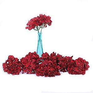 Li Hua Cat Artificial Flowers 10pcs Artificial Hydrangea Silk Centrepieces and Arrangement Real Touch Flowers for Home Decor Wedding Parties (Dark red)