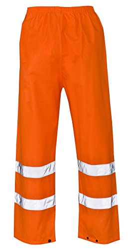 DIGITAL SPOT High Visibility Work Wear Coat Jacket Mens Hi Viz Vis Waterproof Safety Trouser Small/5X-Large Orange Trouser