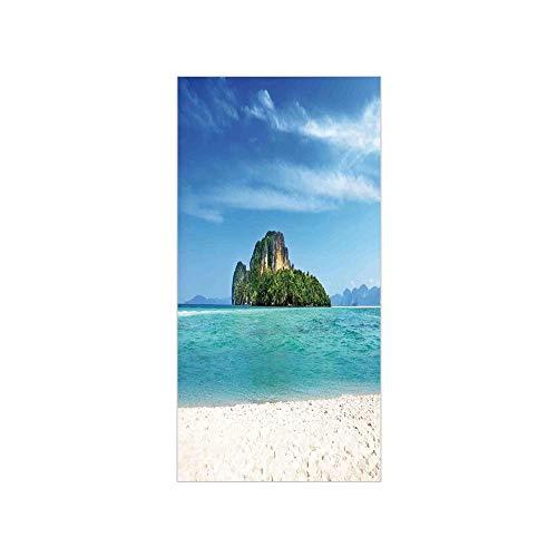 3D Decorative Film Privacy Window Film No Glue,Island,Poda Island in Thailand Lagoon Limestone Sunshine Surfing Coastline Touristic,Turquoise Blue,for Home&Office