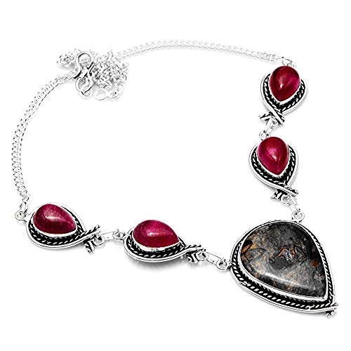 ng Silver Plated Coffee Bean Jasper,Rainbow Calsilica Necklace for Womens and Girls ()