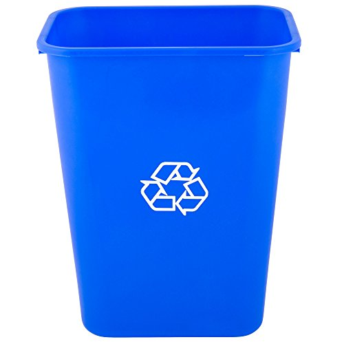 (TableTop King 41 Qt./10 Gallon Blue Rectangular Recycling Wastebasket)