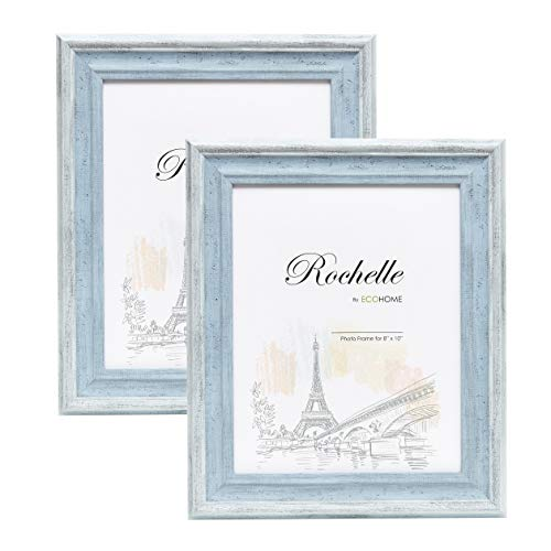 8x10 Picture Frame Distressed Blue - 2 Pack - Mount/Desktop Display, Frames by EcoHome