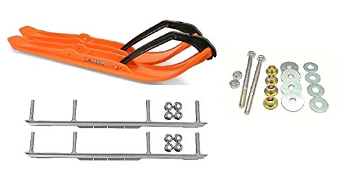 C&A Pro Orange XPT Snowmobile Skis w/ 6'' Shaper Bars Complete Kit Ski-Doo ZX[ADSA]/REV/RT/XPXM 2000 & Newer by Powersports Bundle