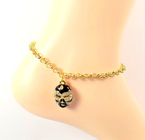 [Gold Black Mask Anklet - Gold -tone Ankle Bracelet- Gypsy - Thespian - Drama - Tribal - Sizes 8-11] (Costumes For Drama)