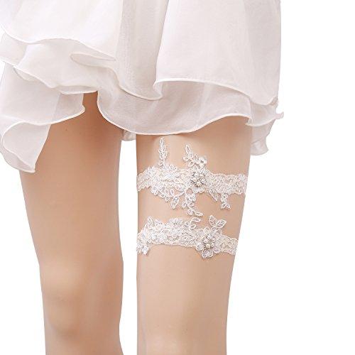 Set Pearl Lovely (Lovful Lovely Women White Bridal Garter with Pearl Lace Garter Set, Beige)