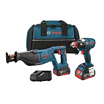 Image of Bosch CLPK204-181 18V 2-Tool Combo Kit with Socket Ready Impact Driver, Reciprocating Saw, 2 Batteries, Charger and Contractor Bag Home Improvements
