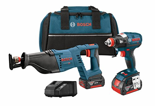 Bosch CLPK204-181 18V 2-Tool Combo Kit with Socket Ready Impact Driver, Reciprocating Saw, 2 Batteries, Charger and Contractor Bag