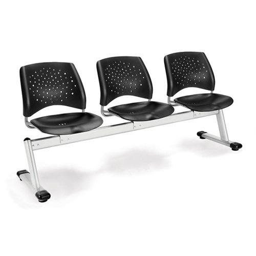(OFM 323-P-BLK Stars 3-Unit Beam Seating with 3 Plastic Seats)