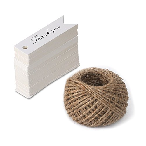 Kraft String Tie Printed (Thank You Tags,Gift Wrap Tags with String,KINGLAKE 100 Pcs Paper Hang Tags with 100 Feet Jute Twine for Wedding Party,Christmas,Thanksgiving (White))