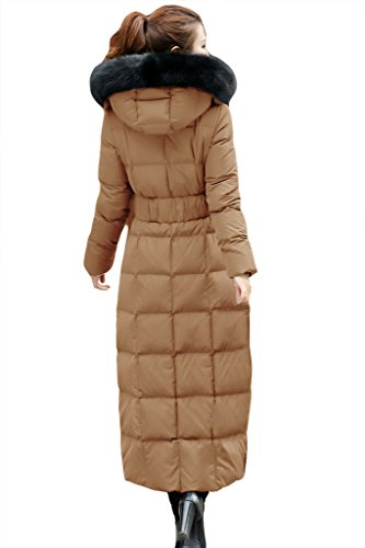 Slim Women's Duck Warm Coat Long Pockets Down Hooded Lyxcls Coffee E7UwFqxSq
