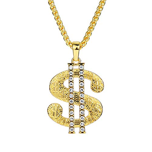 Bruce Brother Men Gold Plated Chain Necklace Big Dollar Sign Pendant Costume Jewelry