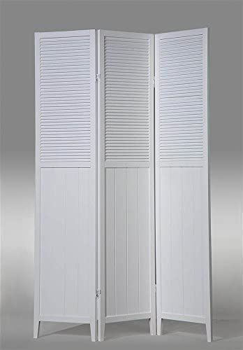 ADF 3-Panel Wood Room Divider in White Finish