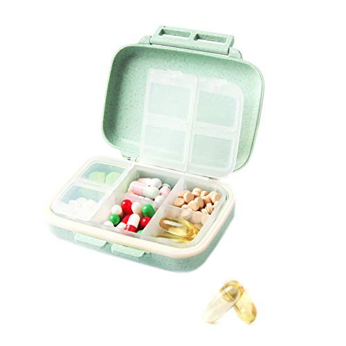 XINHOME Travel Pill Organizer Box, Natural Grain Fiber Travel Pill Case with 6 Compartments to Hold Vitamins, Fish Oil, Supplements and Medication (Green) 6 Pocket Weekly Organizer