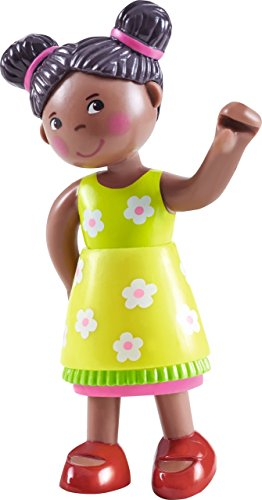 "HABA Little Friends Naomi - 4"" African American Bendy Girl Doll Figure with Pig Tails"
