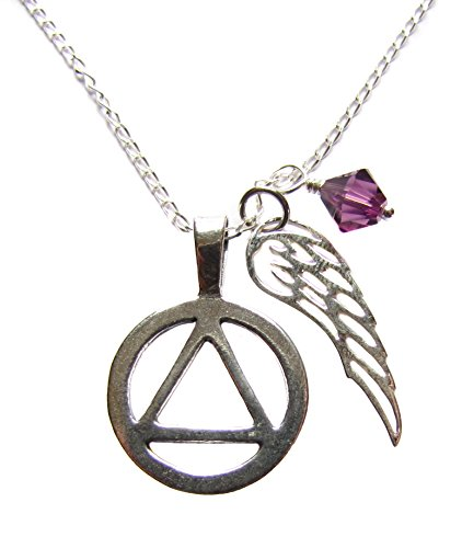 Heart Projects AA 12 Step Anniversary Sterling Silver Gift Alcoholics Anonymous Unity Symbol and Angel Wing Charms, Sterling Silver Necklace 18
