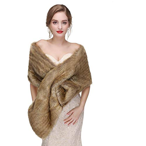 CanB Women's Large 1920 Faux Fur Shawl Bridal Wedding Fur Wraps and Bolero Faux Mink Shrug for Women and Girls (Brown)