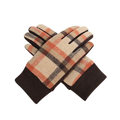 CACUSS Women's Winter Cotton Knit Gloves Touchscreen Texting Finger Tips With Warm Fleece Lining