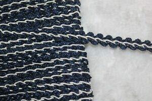 1.25 Yard Navy Blue White Gimp Rosebud Upholstery Sewing Trim 3/8