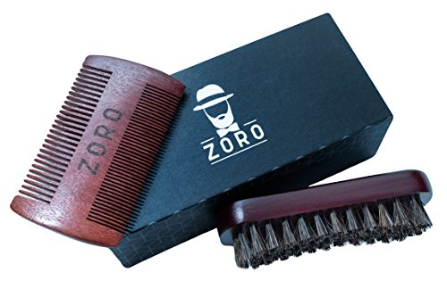 Beard Brush and Comb Set for Men - Premium Handmade Grooming Set - Elegant Box and Cotton Bag - Horsehair Bristled Brush and Double-Sided Aromatic Wooden Comb - Perfect Kit for Home or Travel by Zoro