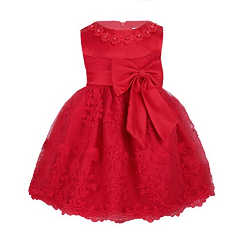 Boutique Christmas Dress (MSemis Baby Girls Embroidered Flower Dresses Christening Baptism Party Formal Dress Red 18-24)