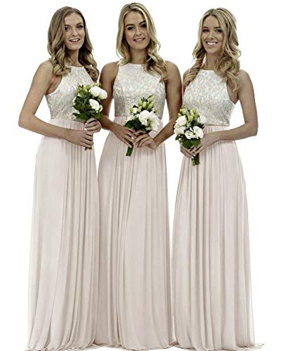 (Lace Bridesmaid Dresses Long Chiffon a-line Evening Wedding Party Gown for Womens Ivory 18)