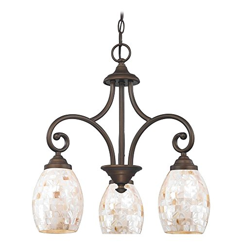 Mini-Chandelier with Beige / Cream Glass in Bronze Finish - Beaumont Ceiling Chandelier