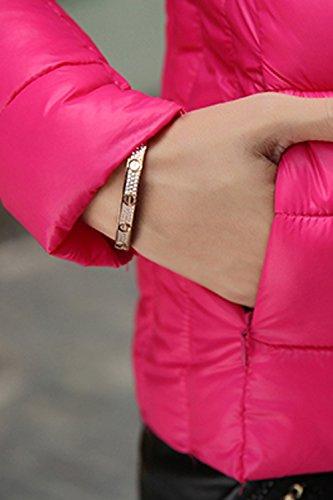 Red Casual Mujer Stand Parkas Invierno Outwear Acolchado La Corta Cuello fz5CFq