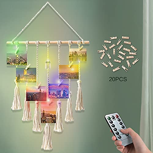 Hanging Photo Display, Macrame Wall Decor Picture Collage Frames Hanging Decor Photo Display with 20 Wood Clips Card Organizer Remote Fairy Lights Boho Room Decor (Ivory- Colorful 20 LED lights)