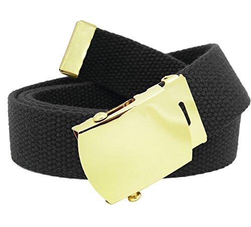 Men's Gold Brass Slider Military Belt Buckle with Canvas Web Belt Large Black