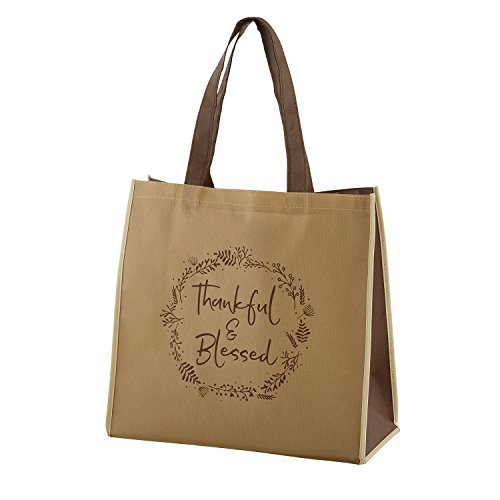 Thankful & Blessed Laurel Wreath 13 x 13 Inch Recycled Nylon Tote Bag by Gifts Of Faith