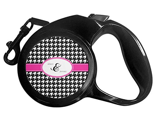Houndstooth w/Pink Accent Retractable Dog Leash - Medium - Houndstooth Accent