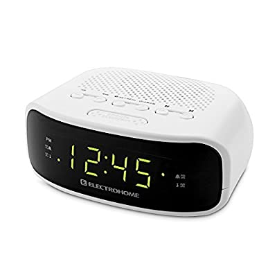 Electrohome Digital AM/FM Clock Radio with Battery Backup, Dual Alarm, Sleep & Snooze Functions, Display Dimming Option (EAAC200) from Electrohome