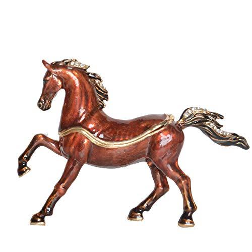 Arabian Horse Trinket Box Metal Enameled Animal Figurine Collectable Wedding Jewelry Ring Holder Organizer (Jeweled Horse Box)