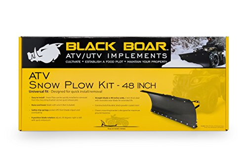 Black Boar ATV Snow Plow Kit with 9-Position Blade Angle, Adjusts to 30 Degrees to Each Side