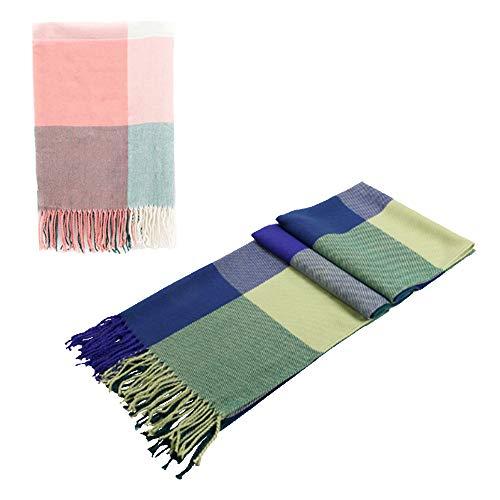 Women's Fashion Long Shawl Big Grid Winter Scarf (two pack)