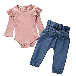Girls Clothing Sets, SHOBDW 1Set Toddler Infant Baby Fashion Lovely Floral Prints Long Shorts Sleeve Tops + Pants + Headband Outfits Gifts
