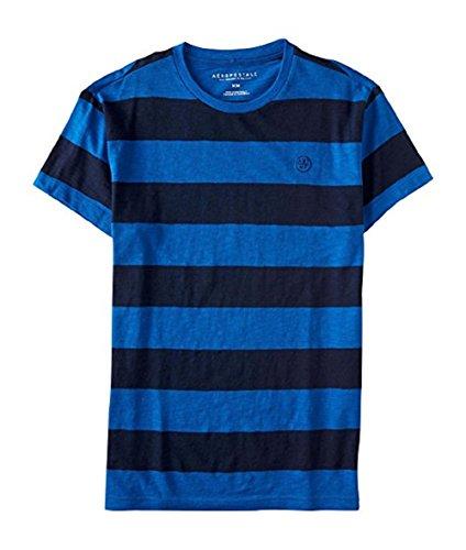 Aeropostale Men's Classic Bar Striped Tee Shirt (Medium, Navy/Blue/Grey)
