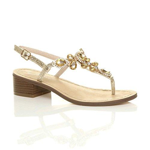 Ajvani - Sandalias de vestir para mujer dorado
