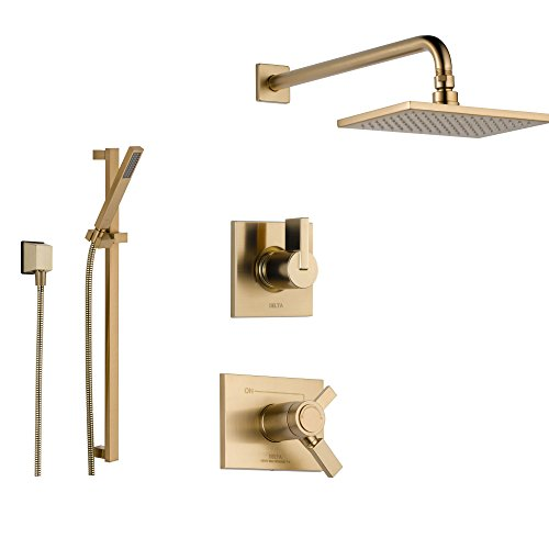 Delta Vero Champagne Bronze Shower System with Thermostatic Shower Handle, 3-setting Diverter, Modern Square Rain Showerhead, and Hand Shower Spray SS17T5384CZ Delta Faucets