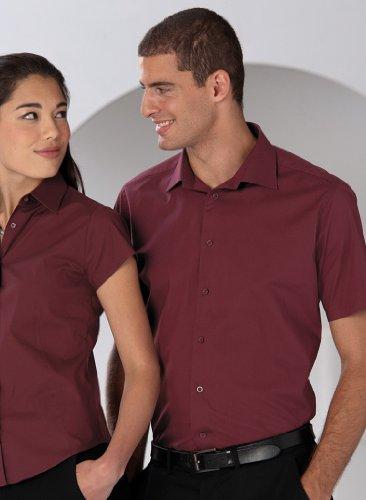 pflegeleichtes körperbetontes Kurzarm Stretch-Hemd , Farbe:Port;Größe:M